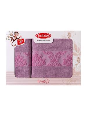Махровое полотенце в коробке 50x90+70x140 RUZANNA ,лиловое,100% хлопок HOBBY HOME COLLECTION. Цвет: лиловый