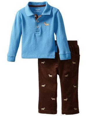 Комплект из 2-х предметов Стильная такса Little Me. Цвет: голубой, коричневый