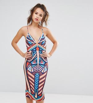 Ginger Fizz Платье миди на бретельках с геометрическим принтом. Цвет: мульти