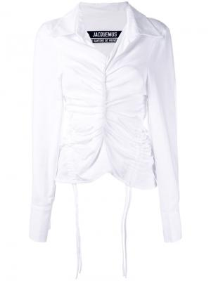 Присборенная рубашка с завязками Jacquemus. Цвет: белый