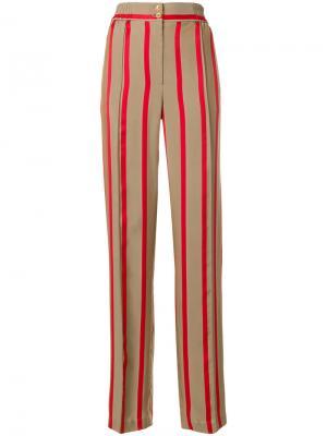 Полосатые брюки с завышенной талией Etro. Цвет: телесный