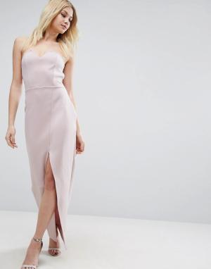 ASOS Асимметричное длинное платье бандо. Цвет: фиолетовый