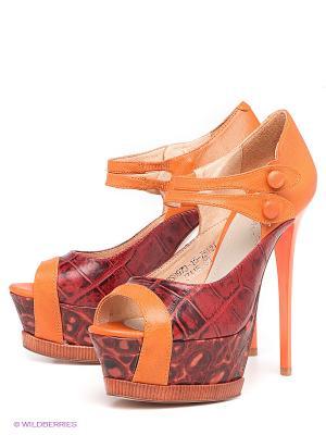 Туфли LENA MILAN. Цвет: темно-красный, рыжий