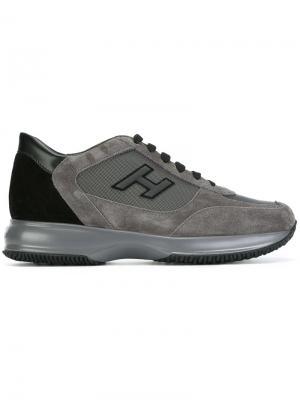 Кроссовки с заплаткой логотипом Hogan. Цвет: серый
