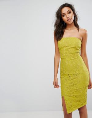Missguided Кружевное платье-бандо миди. Цвет: желтый