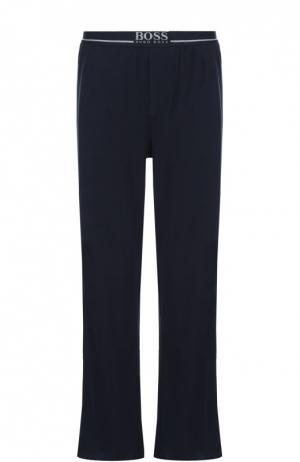 Хлопковые домашние брюки свободного кроя BOSS. Цвет: синий