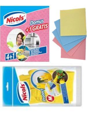 Набор Николс  Салфетки губчатые Domus4+1 и Перчатки Madame m Nicol's. Цвет: желтый