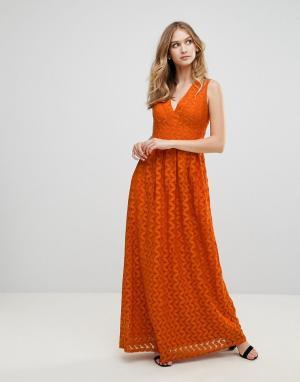 Uttam Boutique Кружевное платье миди. Цвет: оранжевый