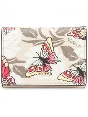 Кошелек с принтом бабочек Furla. Цвет: телесный