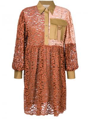 Платье-рубашка дизайна пэчворк Erika Cavallini. Цвет: жёлтый и оранжевый