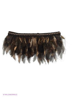 Ожерелье из шифона, кожи, меха Этническое SEANNA. Цвет: коричневый