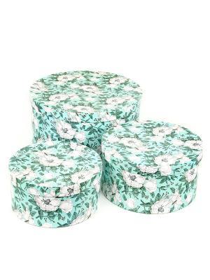 Коробка картонная, набор из 3 шт. 20х20х10- 30х30х15 см. Анаис. VELD-CO. Цвет: бирюзовый, белый