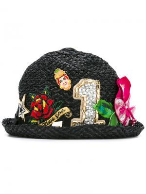 Декорированная шляпа из рафии Dolce & Gabbana. Цвет: чёрный