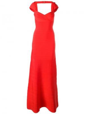 Вечернее платье с глубоким вырезом Hervé Léger. Цвет: красный