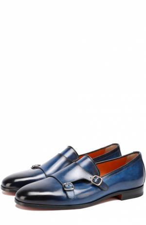 Кожаные монки с двумя пряжками Santoni. Цвет: темно-синий