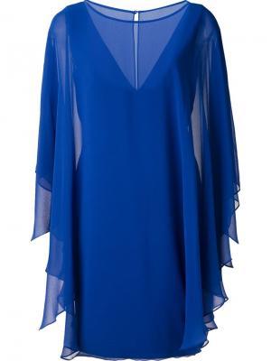 Платье с кейпом Halston Heritage. Цвет: синий