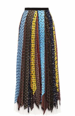 Плиссированная юбка-миди с контрастным принтом Mary Katrantzou. Цвет: разноцветный