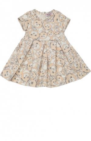 Платье джерси с принтом и круглым вырезом Monnalisa. Цвет: бежевый