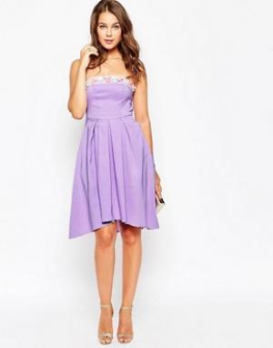 True Violet Расшитое бисером платье миди. Цвет: фиолетовый