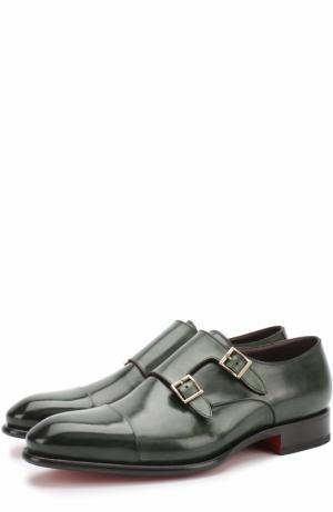 Кожаные монки с двумя пряжками Santoni. Цвет: зеленый