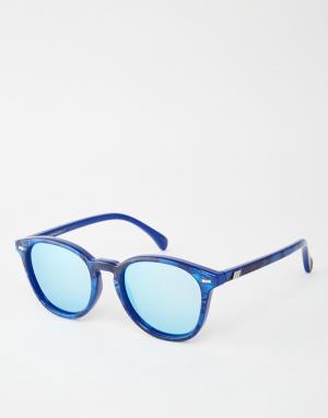 Le Specs Круглые солнцезащитные очки в синей оправе Bandwagon