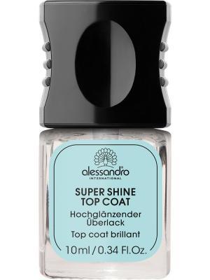 Быстросохнующее верхнее покрытие для лака Super shine top coat alessandro. Цвет: прозрачный