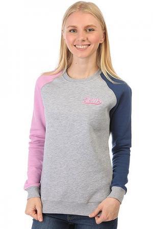 Толстовка классическая женская  Lagoon Sunset Серый Меланж/Розовый/Синий Skills. Цвет: серый,розовый,синий