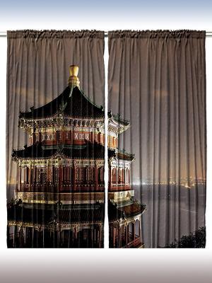 Комплект фотоштор Оттенки полуночи, 290*265 см Magic Lady. Цвет: темно-коричневый