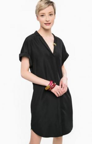 Платье черного цвета с брошью Scotch&Soda. Цвет: черный