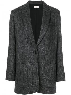 Свободный пиджак в елочку Masscob. Цвет: серый