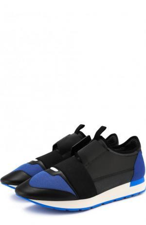 Комбинированные кроссовки Race с эластичной лентой Balenciaga. Цвет: черный