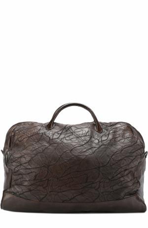 Кожаная дорожная сумка с декором Numero 10. Цвет: коричневый