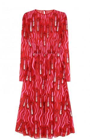 Шелковое платье-миди с принтом и длинным рукавом Valentino. Цвет: красный