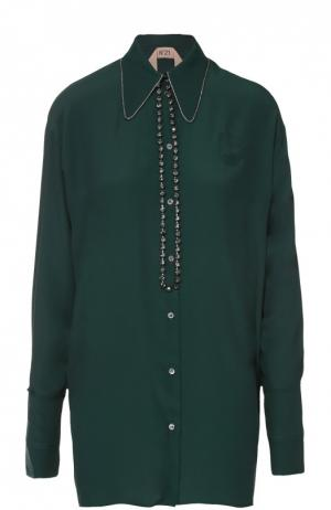 Удлиненная блуза прямого кроя с декоративной отделкой No. 21. Цвет: зеленый