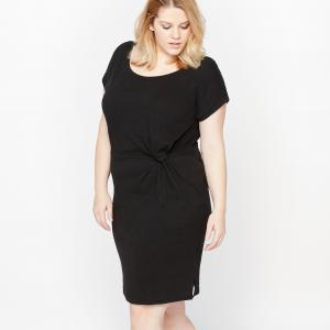 Платье с круглым вырезом и короткими рукавами CASTALUNA. Цвет: в полоску,кирпичный,черный
