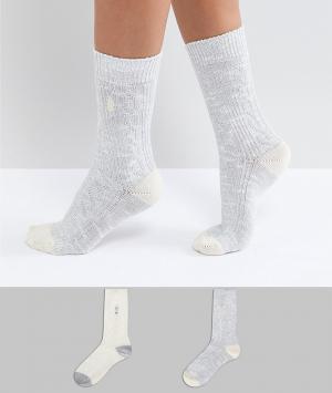 Green Treat Комплект из 2 пар толстых носков крупной вязки. Цвет: серый