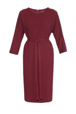Платье из искусственного шелка и вискозы с поясом 182759 Cyrille Gassiline. Цвет: красный