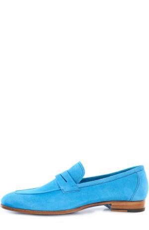 Замшевые пенни-лоферы Kiton. Цвет: голубой