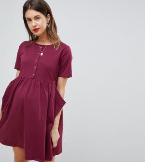 ASOS Maternity Свободное платье мини с карманами и пуговицами DESIGN. Цвет: красный