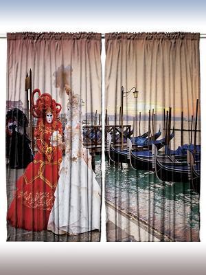 Комплект фотоштор из полиэстера высокой плотности Красота Венеции, 290*265 см Magic Lady. Цвет: синий, лиловый, красный