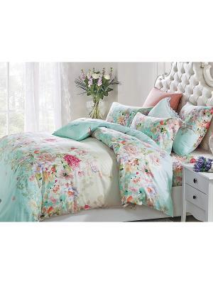 Комплект постельного белья 2сп 70х70 Jardin. Цвет: бирюзовый, голубой, бежевый