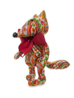Игрушка лоскутная Лисенок Art East. Цвет: зеленый, красный, серый