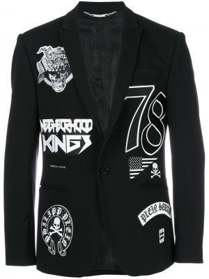 Пиджак с нашивками Philipp Plein. Цвет: чёрный