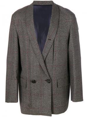Пиджак в клетку Wooyoungmi. Цвет: серый