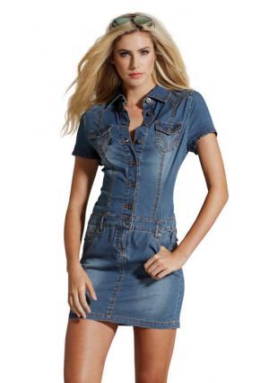 Джинсовое платье Arizona. Цвет: темный потертый