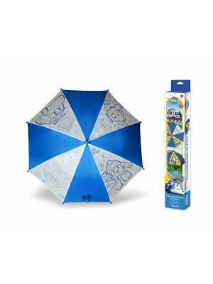 Чудо-творчество. Зонтик для раскрашивания Поли и Рой. Робокар Поли. Чудо-творчество. Цвет: белый, желтый, синий