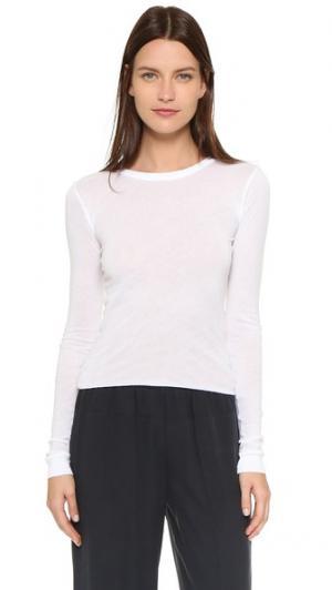 Эффектная футболка с округлым вырезом и длинными рукавами Enza Costa. Цвет: белый