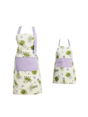 Набор из 2 прямых фартуков мама и дочка Fresca Design. Цвет: зеленый, молочный, сиреневый