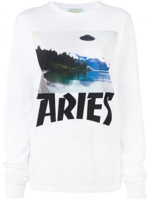 Топ с графическим принтом Aries. Цвет: белый