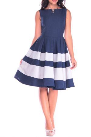 Платье Laura Bettini. Цвет: темно-синий, бело-серый